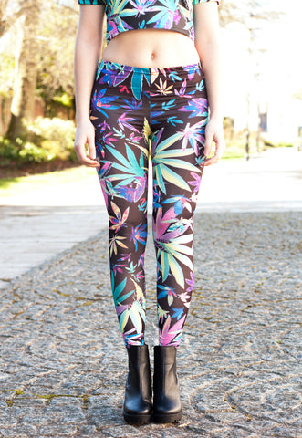Tropical Weed Leaf Print Leggings