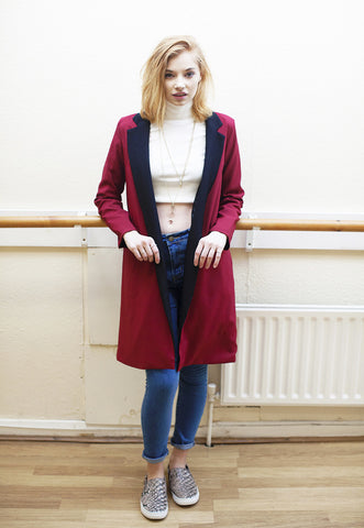 Red Longline Blazer With Contrast Lapel