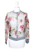 Bomber Jacket With Flower Printed Organza