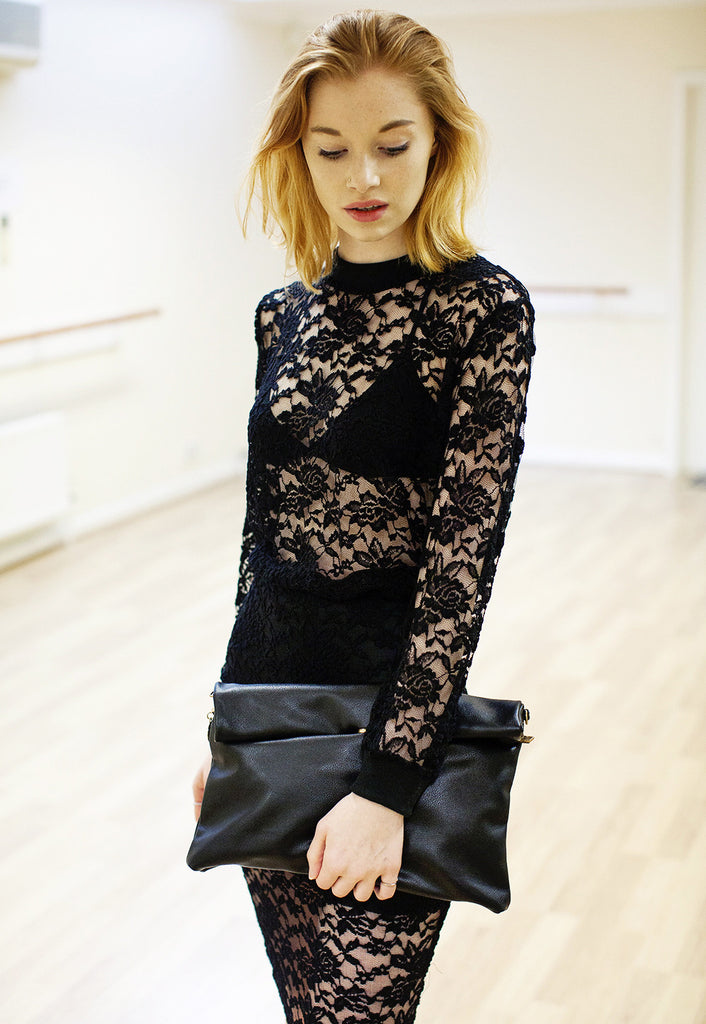 Black Lace Top Pencil Skirt Co-ord Twin Set