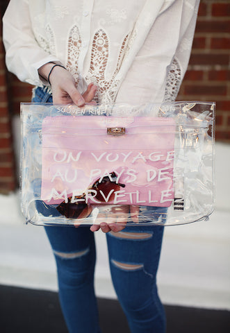 A Trip To Wonderland Clear Transparent Clutch Bag (Pink)