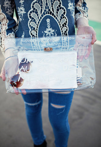 A Trip To Wonderland Clear Transparent Clutch Bag (Silver)