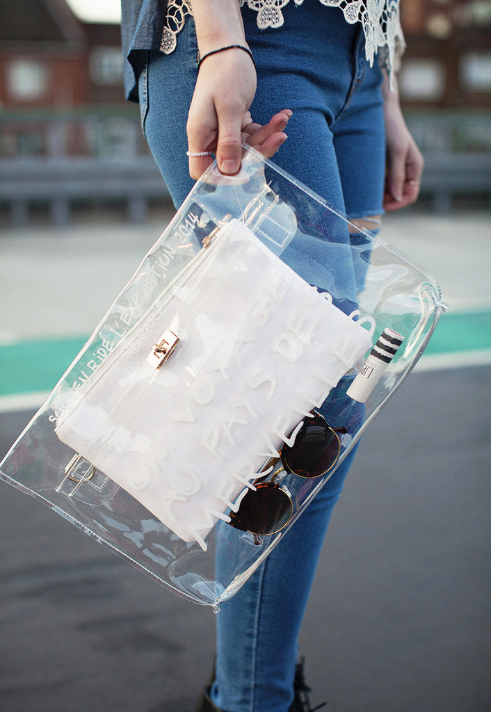 A Trip To Wonderland Clear Transparent Clutch Bag (White)