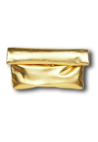 Metallic Gold Roll N Grab Fold Clutch