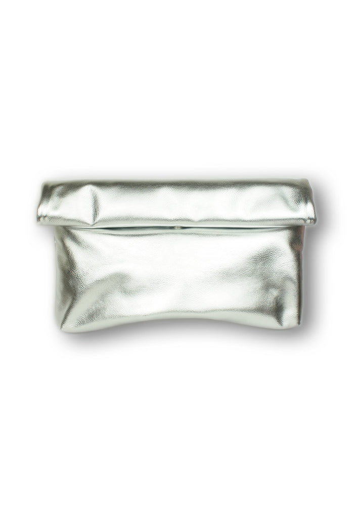 Metallic Silver Roll N Grab Fold Clutch