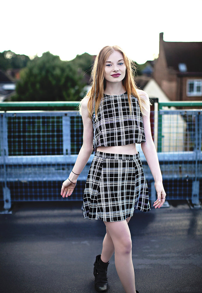 Black Check Print Top & Skirt Two Piece Co-ord