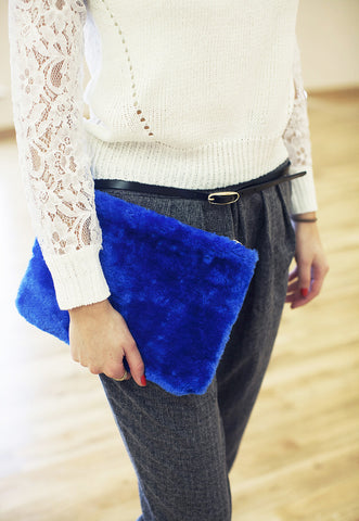 Blue Fluffy Faux Fur Clutch