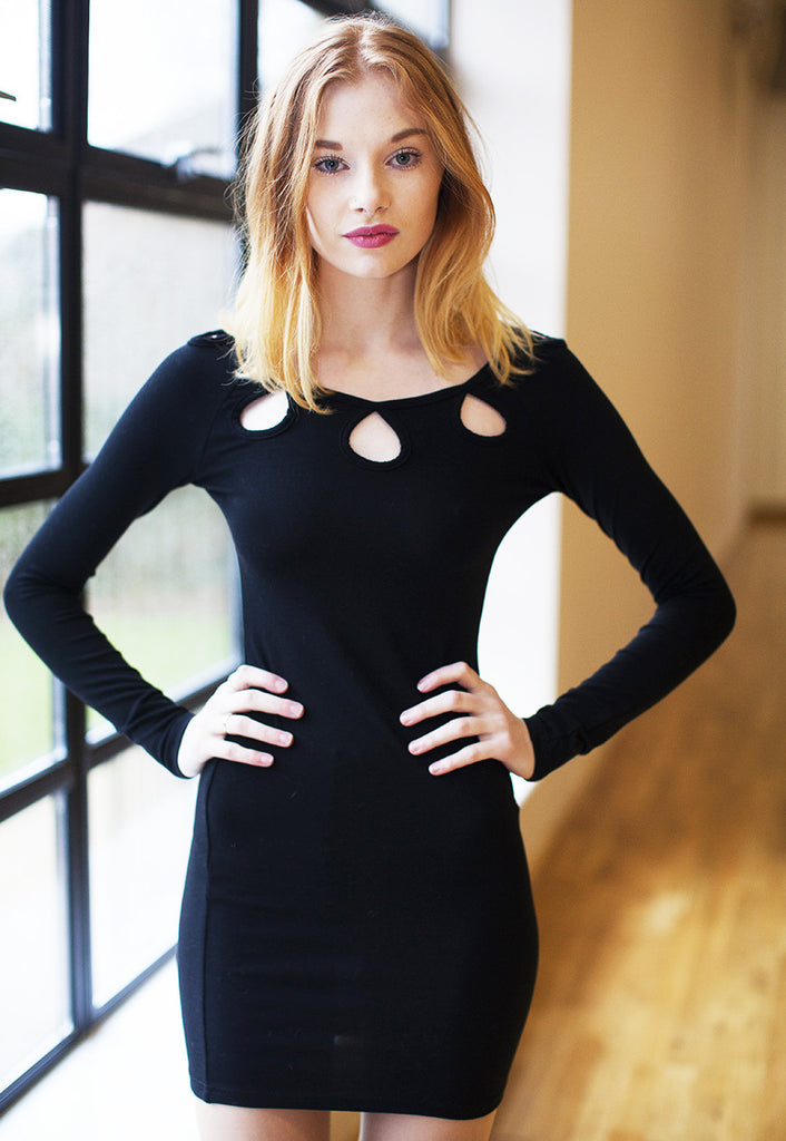 Bodycon Dress With Keyhole Neckline - Black