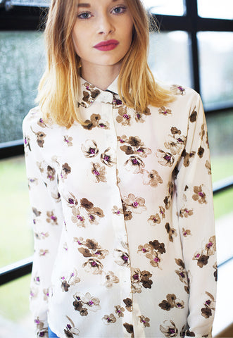 Chiffon Shirt In Floral Spring Print - White