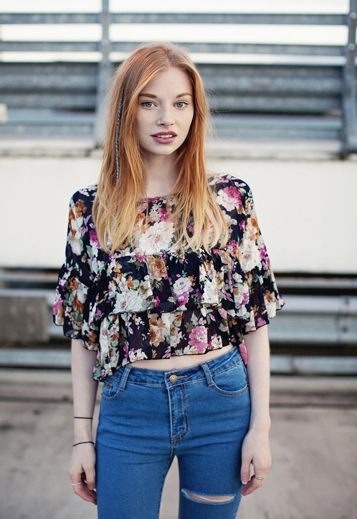 Chiffon Tierred Top In Floral Print (Black)
