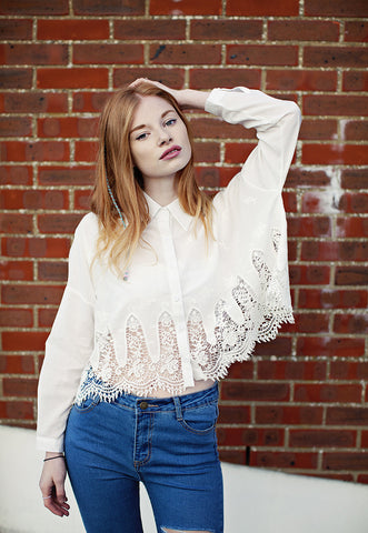 Crop Shirt With Lace Trim