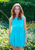 Turquoise Blue Crochet Top Pleated Dress