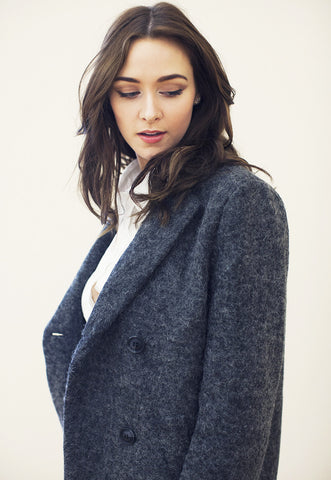 Dark Grey Woolen Double Breasted Coat