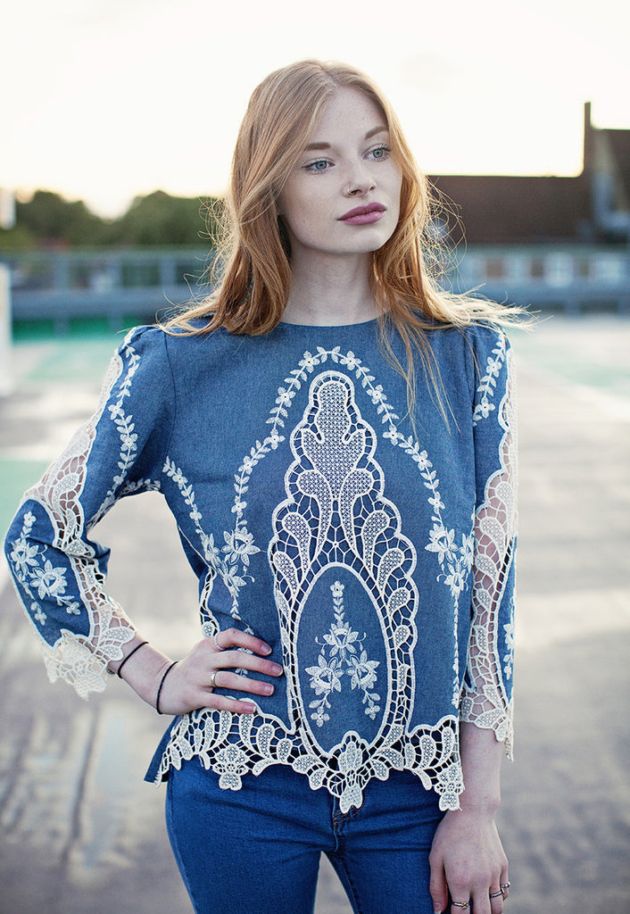 Denim Top With Cut-out Lace Embroidery