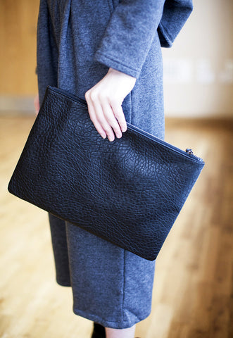 Faux Bubble Leather Clutch In Black