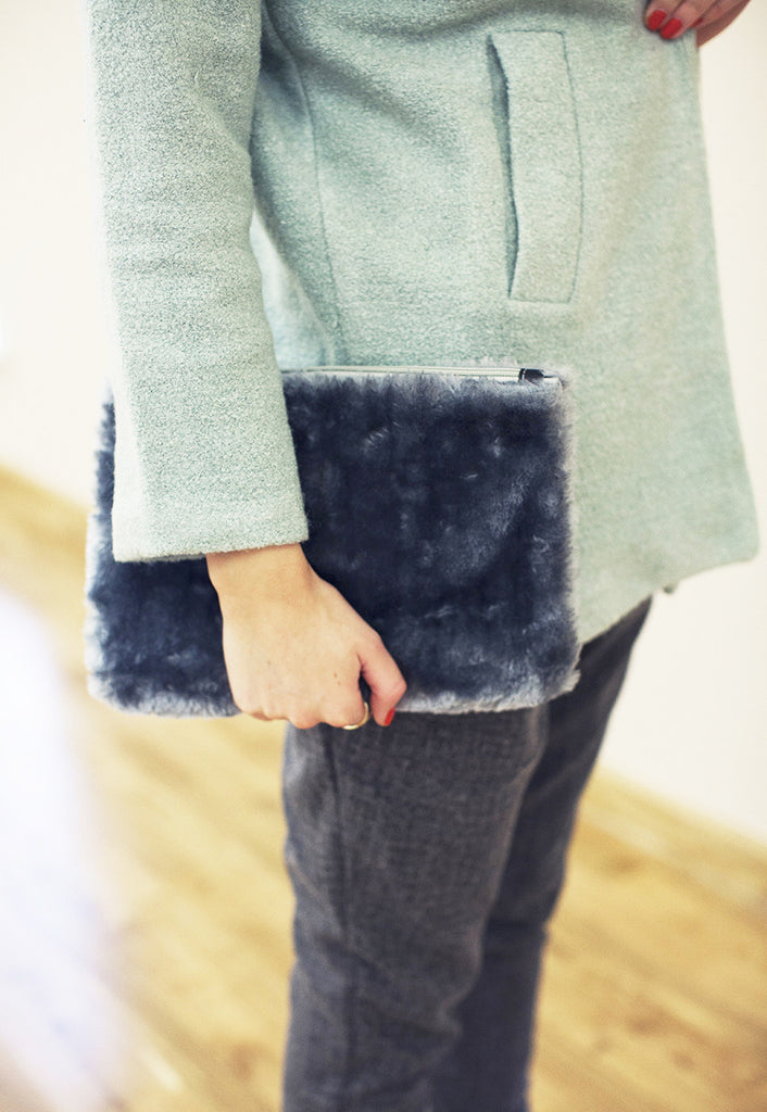 Grey Fluffy Faux Fur Clutch