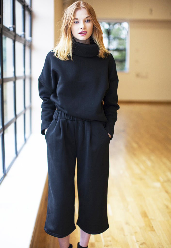 Jersey High Neck Sweatshirt With Culotte Trouser Co-Ord - Black