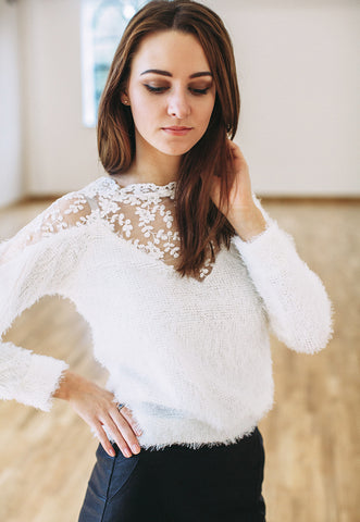 Mohair Jumper With Lace Insert (White)