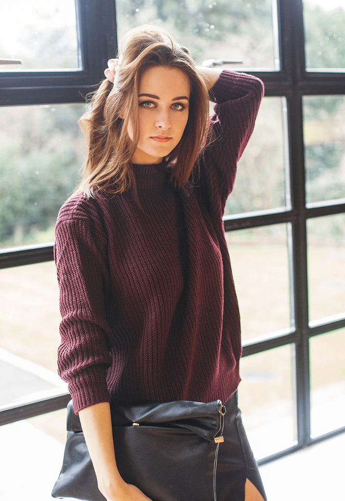 Chunky Jumper In Rib With High Neck (Burgundy)