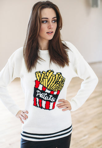 Jumper With Chips Fries (White)