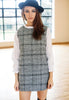 Tweed Check Shift Dress With Contrast Sleeves