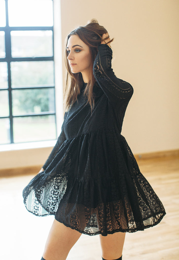 Lace Dress With High Neck (Black)