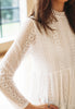 Lace Dress With High Neck (White)