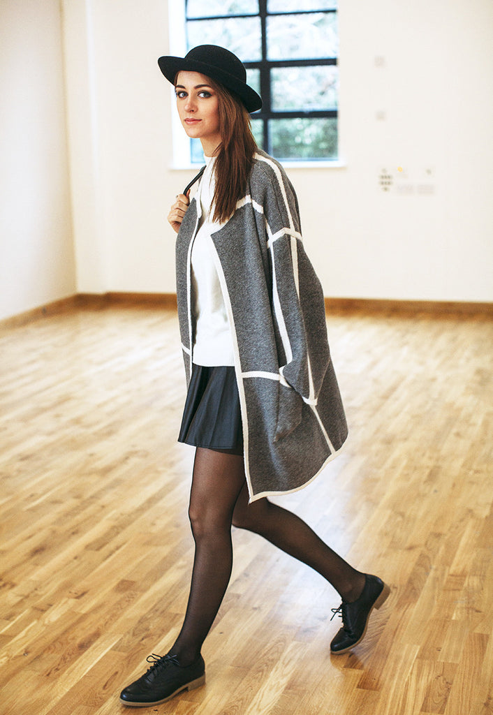 Cape Jacket Kimono With Contrast Trim (Grey)