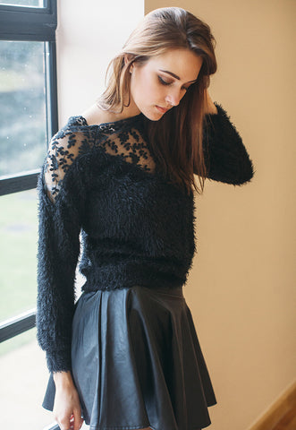 Mohair Jumper With Lace Insert (Black)