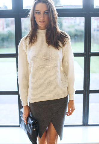 Chunky Jumper In Rib With High Neck (White)