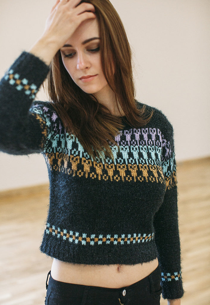 Cropped Jumper In Aztec Print