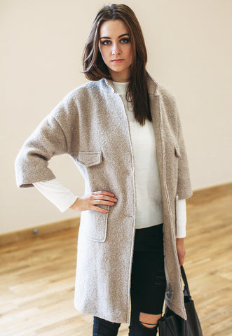 Textured Wool Blend LongLine Coat