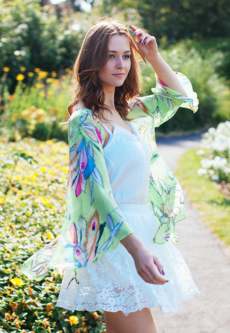 Kimono Kaftan In Feather Print (Apple Green)