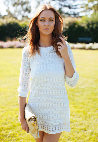 Little White Shift Dress In Crochet Lace