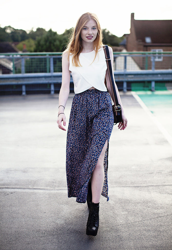 Maxi Skirt With Split In Flower Print