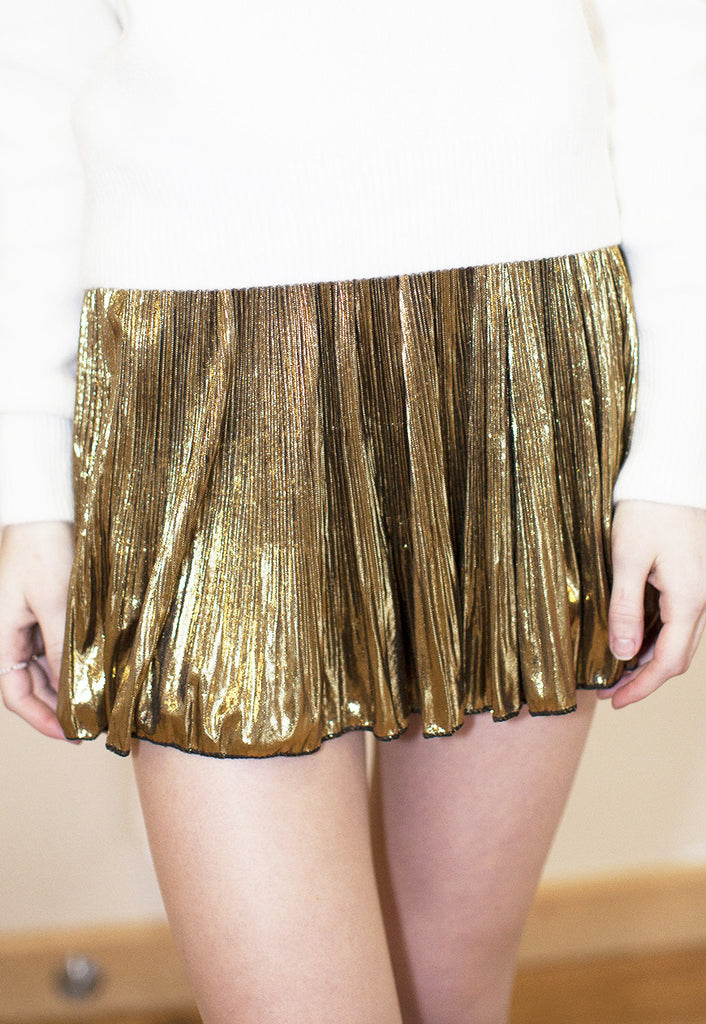 Metallic Disco Pleat Skirt - Gold