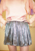 Metallic Disco Pleat Skirt - Silver