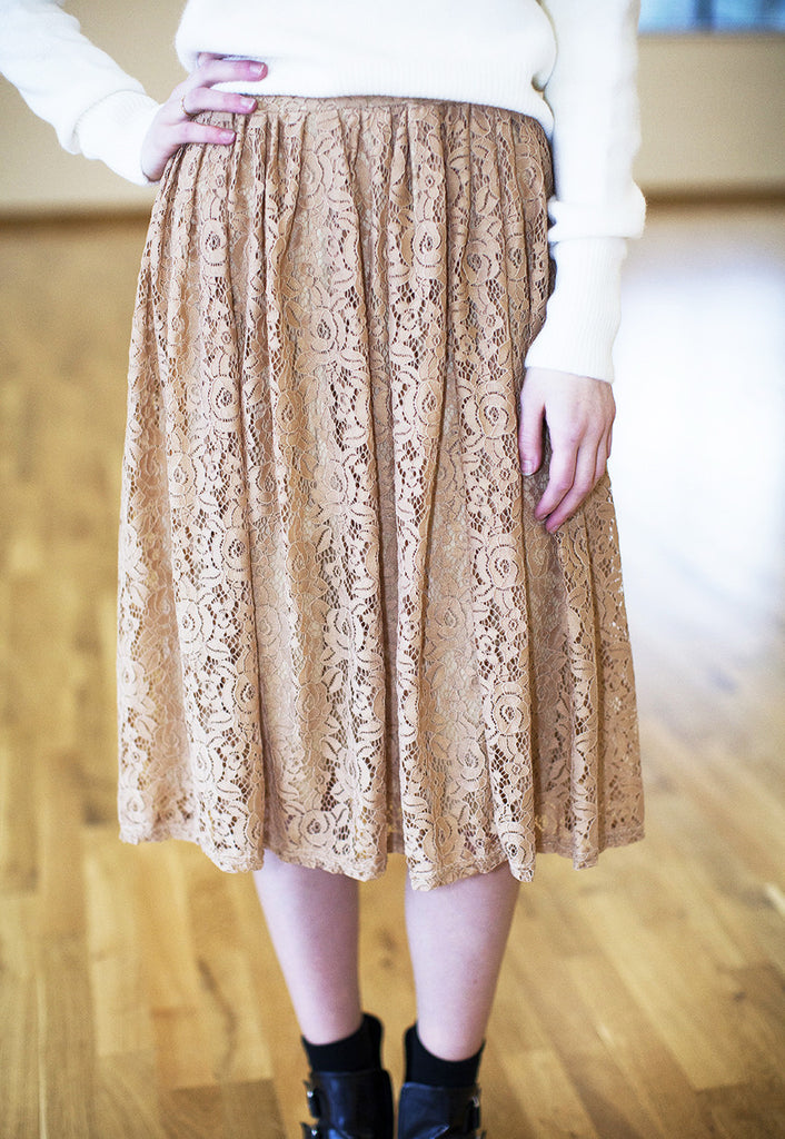 Midi Skirt In Vintage Inspired Lace - Nude