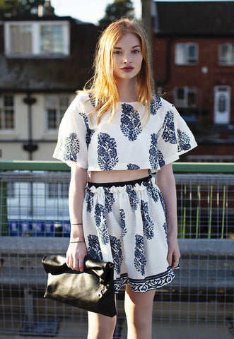 Paisley Print Top & Skirt Two Piece Co-ord