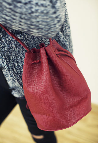 Red Faux Leather Duffle Bag