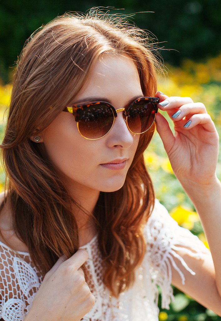Retro Inspired Half Frame Cateye Sunglasses in Tortoiseshell