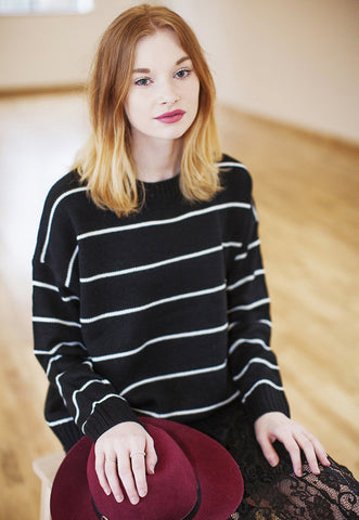 Stripe Knitted Oversized Jumper - Black