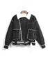 Faux Shearling Biker Jacket (Black)