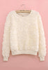 Fluffy 3D Rose Jumper (Cream)