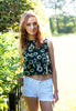 Daisy Flower Print Crop Tank Top