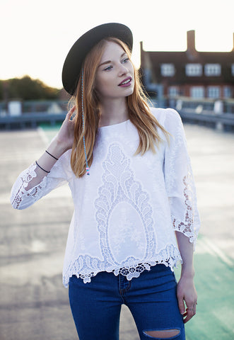 White Top With Cut-out Lace Embroidery
