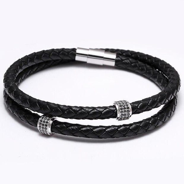 Braided Two-Strand Leather Bracelet-Sevenedge Perfect Gifts