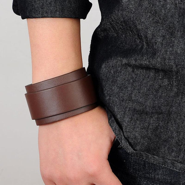 Classy Leather Wide Cuff For Men-Sevenedge Perfect Gifts