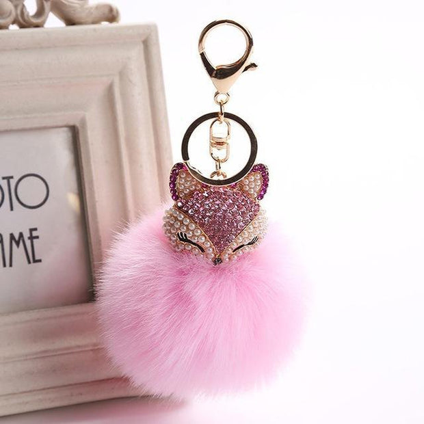 Crystal Fox In Fur Keychain-Sevenedge Perfect Gifts