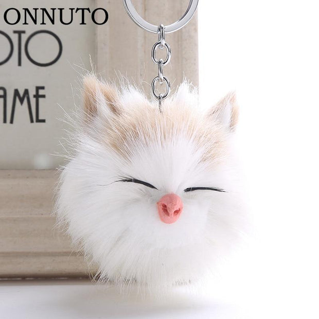 Cute Cat Pompom Key Chain-Sevenedge Perfect Gifts